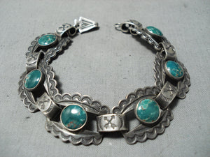 Early 1900's Vintage Native American Navajo Damale Turquoise Sterling Silver Bracelet Old