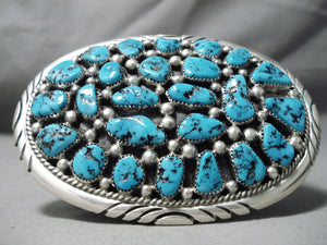 Newsworthy Vintage Native American Navajo Turquoise Sterling Silver Buckle Old