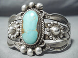 Early Vintage Native American Navajo Blue Gem Turquoise Sterling Silver Bracelet Old