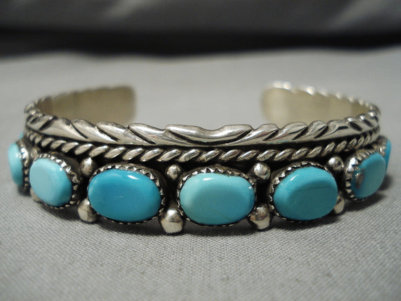 Important Vintage Native American Navajo John Mike Domed Turquoise Sterling Silver Bracelet