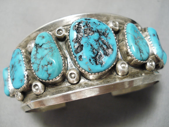 Native American Heavy Thick Sterling Silver Shell Bead Turquoise Bracelet Old Pawn