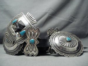 Huge 541 Gram Vintage Native American Navajo Turquoise Sterling Silver Concho Belt Old