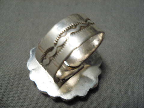 Huge Thicker Vintage Native American Navajo Teardrop Coral Sterling Silver Ring Old
