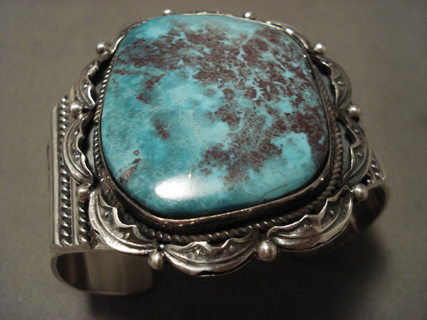 98 Grams Huge Navajo 'Blueberry Turquoise' Native American Jewelry Silver Bracelet