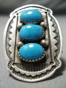 Huge Vintage Native American Navajo Blue Gem Turquoise Sterling Silver Ring