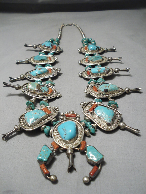 Authentic Vintage Native American Navajo Chunk Turquoise Sterling Silver Squash Blossom Necklace