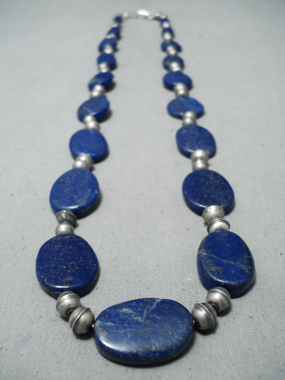 Amazing Navajo Lapis Sterling Silver Necklace Native American