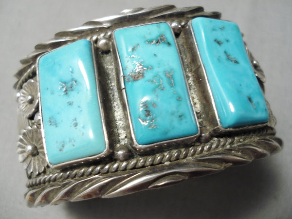 One Of The Best Vintage Native American Navajo Rectangle Turquoise Sterling Silver Bracelet Old