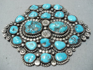 Massive Vintage Navajo Native American Old Kingman Turquoise Sterling Silver Pin