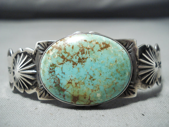 Striking Vintage Native American Navajo Royston Turquoise Sterling Silver Bracelet Old