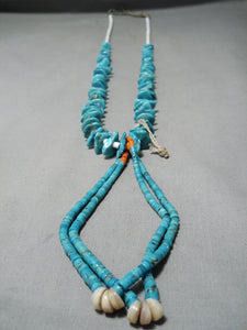 Opulent Vintage Native American Navajo Royston Turquoise Necklace & Jacla