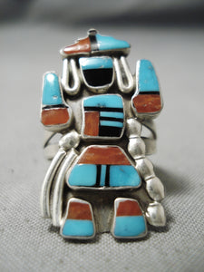 So Detailed!! Vintage Zuni Native American Turquoise Coral Sterling Silver Ring