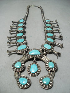 Women's Vintage Native American Navajo Turquoise Sterling Silver Squash Blossom Necklace