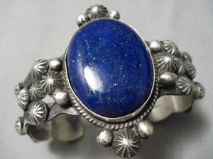 Heavy Thick Vintage Native American Navajo Lapis Sterling Silver Repoussed Bracelet