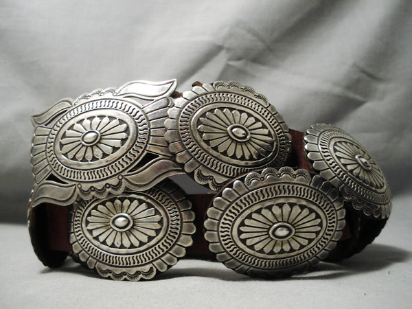 Important Vintage Native American Navajo Nel Burbank Sterling Silver Concho Belt Old