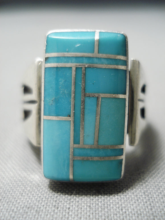 Native American Stunning Vintage Huge Inlay Turquoise Sterling Silver Channel Ring