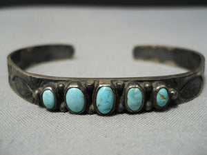 Early 1900's Vintage Native American Navajo Early Carico Lake Turquoise Sterling Silver Bracelet