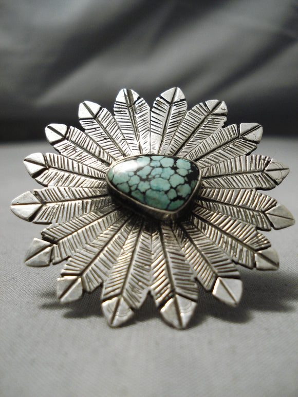 Giant Modernistic Native American Navajo Spiderweb Turquoise Sterling Silver Feather Crown Ring