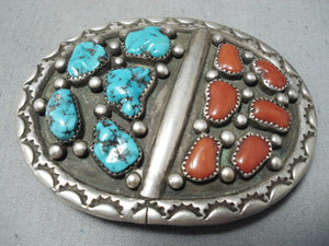 Terry Vintage Native American Navajo Turquoise Coral Sterling Silver Buckle Old