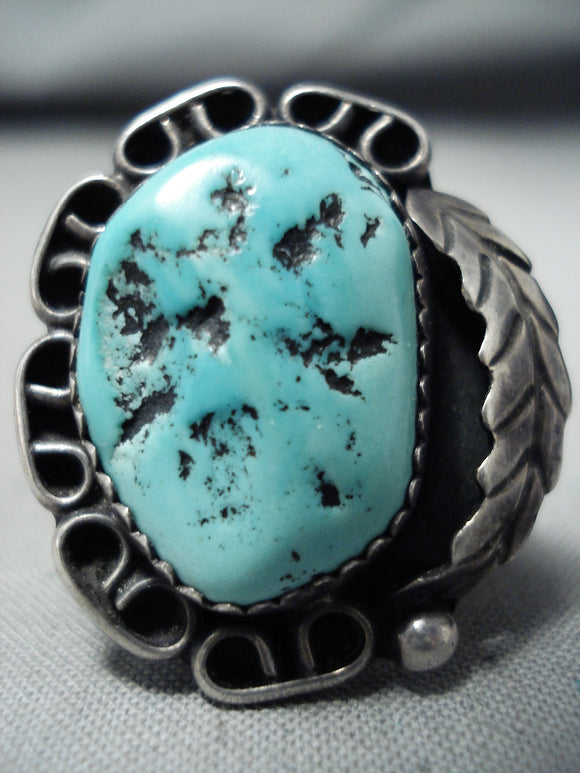 Jerry Roan Vintage Native American Navajo Sleeping Beauty Turquoise Sterling Silver Ring