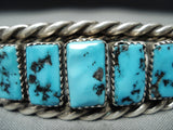 Excellent Vintage Native American Navajo Sleeping Beauty Turquoise Sterling Silver Bracelet