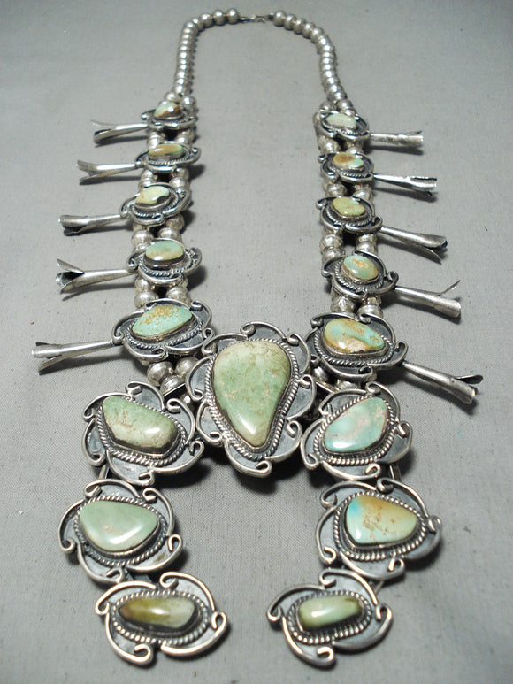 Yazzie Vintage Native American Navajo Royston Turquoise Sterling Silver Squash Blossom Necklace