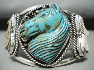 Native American Best Hand Carved Turquoise Horse Sterling Silver Bracelet Cuff