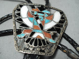 Unforgettable Vintage Native American Zuni Turquoise Sterling Silver Bolo