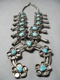 Flower Vintage Native American Navajo Turquoise Sterling Silver Squash Blossom Necklace Old