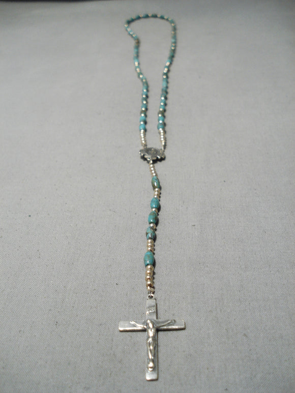 Amazing Blue Diamond Turquoise Native American Navajo Sterling Silver Rosary Christian Necklace