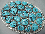 Chunky Vintage Native American Navajo Sleeping Beauty Turquoise Cluster Sterling Silver Buckle