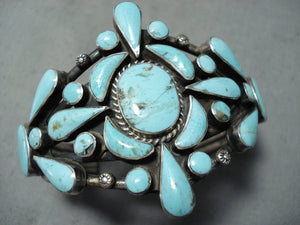 Tremendous Vintage Native American Navajo Turquoise Sterling Silver Bracelet Old