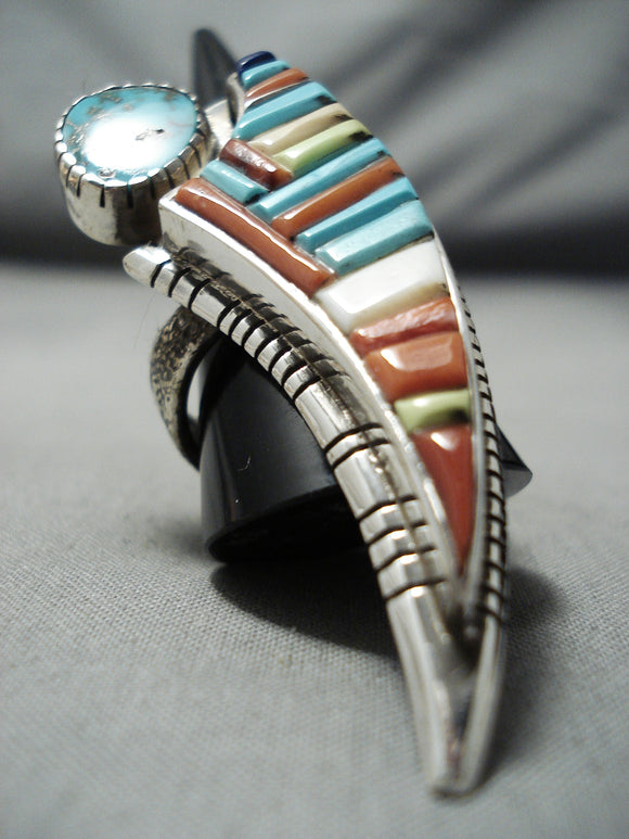One Of The Best Native American Navajo Turquoise Sterling Silver Inlay Ring