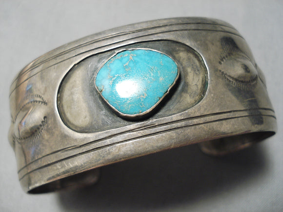 Incredible Vintage Native American Navajo Carico Lake Turquoise Sterling Silver Bracelet Old