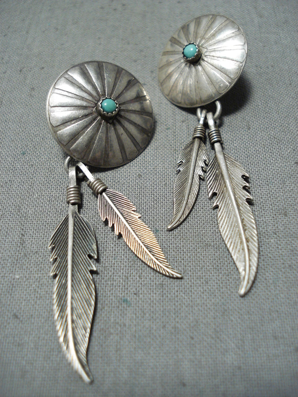Exceptional Vintage Native American Navajo Turquoise Sterling Silver Dream Catcher Earrings
