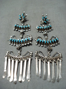 Exquisite Native American Zuni Turquoise Sterling Silver Chandelier Earrings
