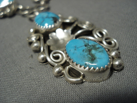 Marvelous Vintage Navajo Sterling Silver Native American Turquoise Necklace