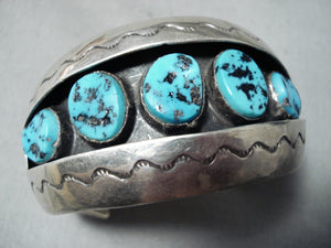 Superior Vintage Native American Navajo Sleeping Beauty Turquoise Sterling Silver Bracelet Old