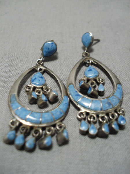 Best Vintage Zuni Native American Navajo Lapis Inlay Sterling Silver Chandelier Earrings Old