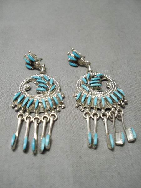 Stunning Vintage Native American Zuni Needle Turquoise Sterling Silver Dangle Earrings