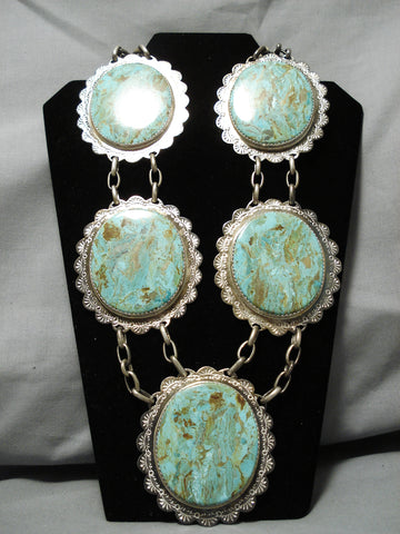 Native American The Best Vintage Santo Domingo Royston Turquoise Sterling Silver Necklace