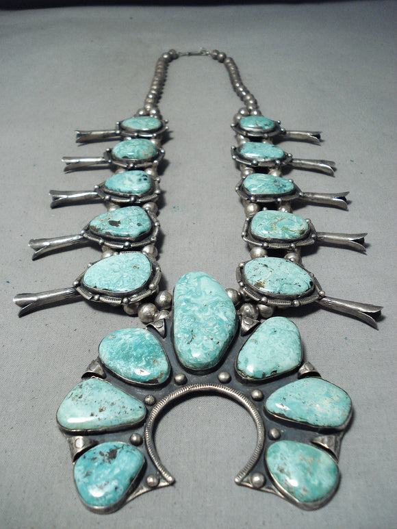 Biggest Rare Turquoise Vintage Native American Navajo Sterling Silver Squash Blossom Necklace