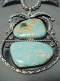 Kenny Ray Vintage Native American Navajo #8 Turquoise Sterling Silver Squash Blossom Necklace