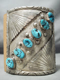 Magnificent Vintage Native American Navajo Sleeping Beauty Turquoise Sterling Silver Bowguard