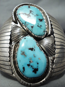Incredible Vintage Native American Navajo Morenci Turquoise Sterling Silver Bracelet Signed
