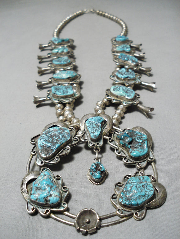 Full Naja Vintage Native American Navajo Turquoise Sterling Silver Squash Blossom Necklace