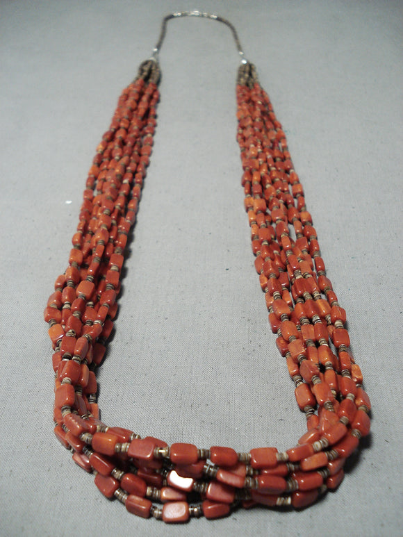 One Of The Best Vintage Native American Navajo Coral Sterling Silver Necklace