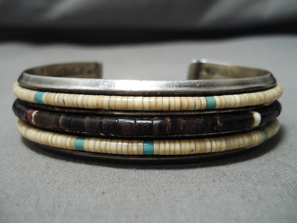 Native American Important Santo Domingo Vintage Na Na Ping Turquoise Sterling Silver Bracelet