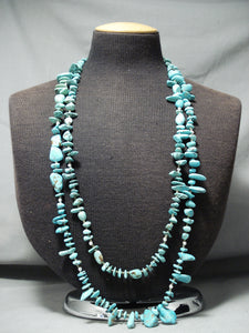 Rare Vintage Native American Navajo Wrap Around Turquoise Sterling Silver Necklace Old