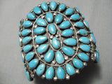Colossal Vintage Native American Navajo Tears Of Joy Turquoise Sterling Silver Bracelet Old